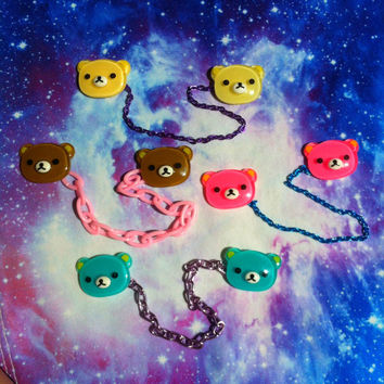 Kawaii Bear Sweater Chain, Fairy Kei, Pastel Goth, Collar Clip