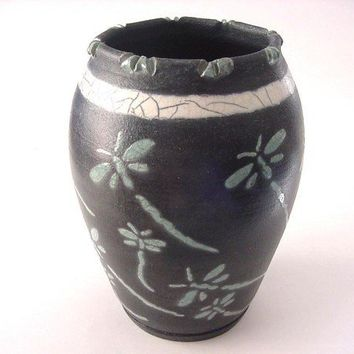 Raku Pottery Raku Vase Dragonfly Vase by DarriellesClayArt