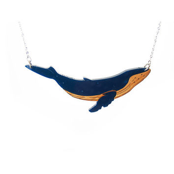 Humpback Whale Necklace. Animal Necklace. Statement Necklace. Bib Necklace. Whales. Blue Whale. Sea Life. Whale Pendant. Laser Cut Whale.