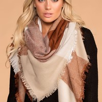 Myra Beige Plaid Blanket Scarf