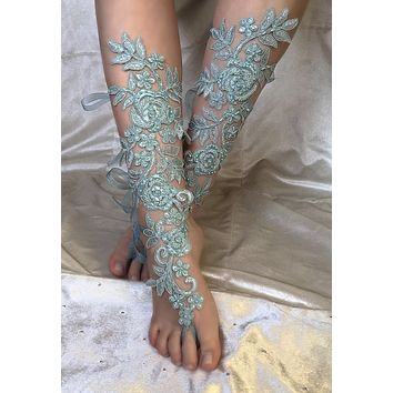 Handmade French Lace Bridal Barefoot Sandals