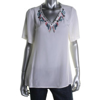 Nanette Lepore Womens Satin Short Sleeves Pullover Top