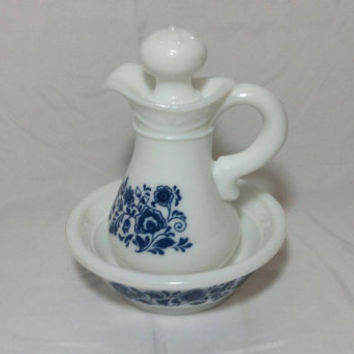 Vintage Delft Avon Skin So Soft Body Oil Milk Glass Pitcher and Bowl with Blue Flowers
