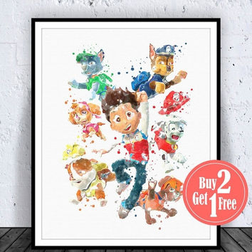 BIG SALE: Paw Patrol Art, Paw Patrol Print, Kids poster, Nursery Art Boy, Boys Artwork, Children's Poster, Kids Wall Art, nursery picture