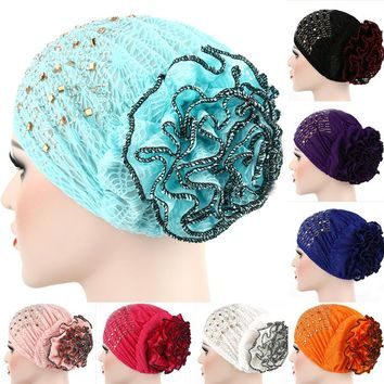 2017 Women New Hot Lace Cap Big Flower Turban Muslim Scarf Beanies Ladies Fashion Multi Color Head Wraps