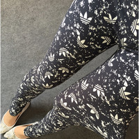 Women Leggings 2016 Spring Autumn Apparel Soft Graffiti Printed Women Pants High Waist Slim Sports Leggings FitnessW033