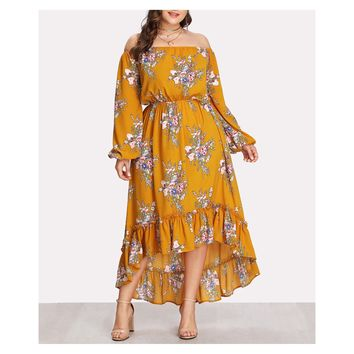 Yellow Floral Long Sleeve Ruffle Maxi Dress