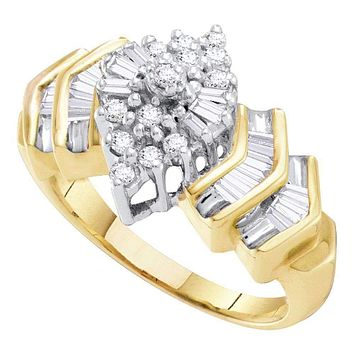 10kt Yellow Gold Women's Round Diamond Cluster Baguette Accent Ring 1/2 Cttw - FREE Shipping (US/CAN)