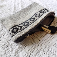 Grey and Black Mexican Blanket Makeup Bag/ Pencil Pouch- Free Shipping to Continental US