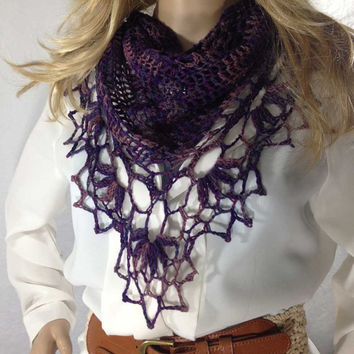 Outlander Inspired Purple Scarf Crocheted Shawlette Lace Heather Scottish Thistle Diana Gabaldon Triangle FREE SHIPPING