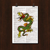 Chinese Dragon Upcycled Dictionary Page Book Art Print