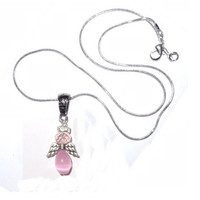 "Pastel Pink Angel Necklace Silver Winged Crystal Angel with 18"" Chain - FREE SHIPPING"