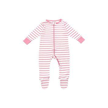footed pajamas in pink marseille stripe