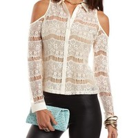 Cold Shoulder Eyelash Lace Top: Charlotte Russe