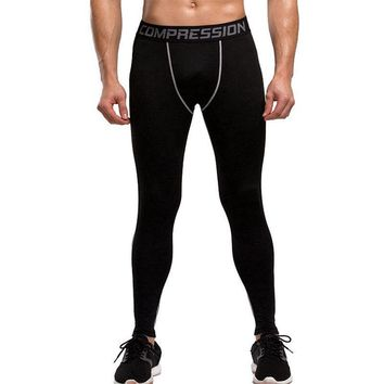Black Fitness Men Running Tights Compression Male Tights