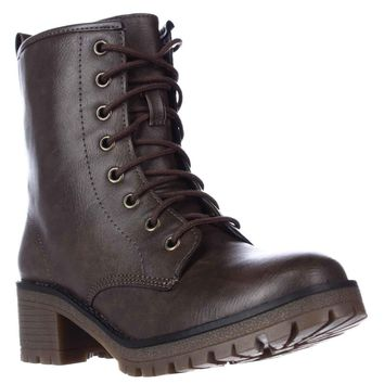 madden girl Eloisee Lace-up Combat Boots, Brown, 11 US