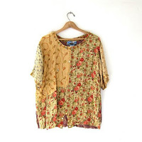 vintage floral shirt. Oversized short sleeved top. Slouchy patchwork blouse. Tribal ethnic tunic top.