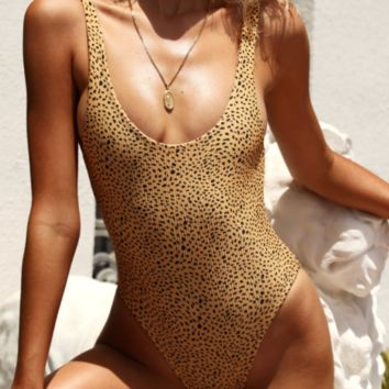 New Leopard Bikini Knotted Women's Swimwear One-piece Backless Swimsuit Siamese bikini