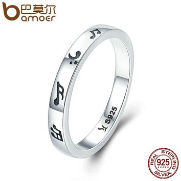 BAMOER New Arrival Genuine 925 Sterling Silver Romantic Music Notes Finger Rings for Women Sterling Silver Jewelry S925 SCR199