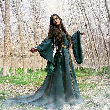 Celtic princess green wool costume Medieval dress