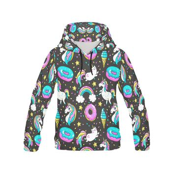Unicorns Donuts Rainbow All Over Print Hoodie for Women (USA Size)