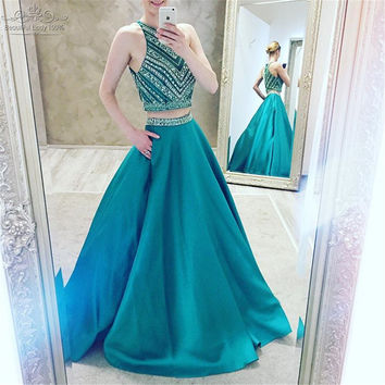 Gorgeous Long Two Piece Prom Dresses 2017 Luxury Beaded Rhinestone Light Blue O Neckline A Line Prom Gowns Wedding Party Dress