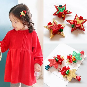 LNRRABC 1PC Fashion Children Cute Christmas Decorate Hairpins Multi-Type Girls Popular Hair Clip Hair Accessories Hot Sale