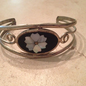 Vintage Alpaca Silver Cuff Bracelet Black Mother of Pearl Mexican Jewelry