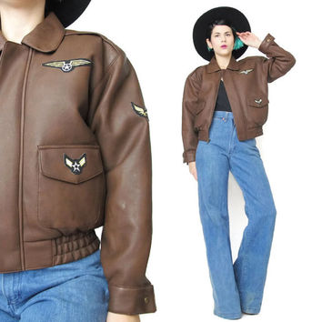 Brown Aviator Jacket Brown Faux Leather Jacket Womens Petites Cropped Jacket 1990s Faux Leather Jacket Patches Kids Pilot Jacket (XS/S)