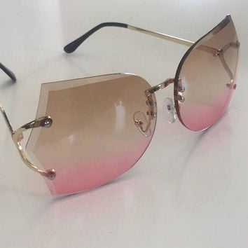 70s Gradient Frameless Sunnies | Oversized Rimless Style rose gold fade Sunglasses metal Hippie Sunnies 1970s 60s Disco Womens Sunnies