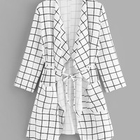 Plus Waterfall Collar Grid Coat