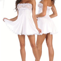 Lace Top Mini Dress Adorned With Rhinestones Clubwear Dresses
