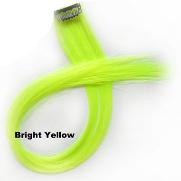 "1 pcs 22"" Straight Hair Price,Bright Yellow New Highlight Straight Ombre Colorful Candy Colored Colorful single Clip On In synthetic Hair Extension Hair piece"