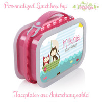 Owl N Kitty Lunchbox - Personalized Lunchbox with Interchangeable Faceplates - Double-Sided Owl and Kitty Best Friends Lunchbox