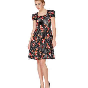 Voodoo Vixen Floral Polka Dot Flare Dress
