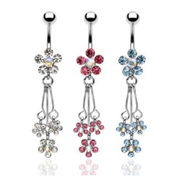 Beautiful Crystal Accented Dangling Flower Spray Belly/Naval Ring