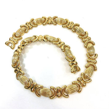 Gold Fashion Necklace, Chunky XOXO Choker, Nina Ricci for Avon, Day to Evening, Vintage 1980s Statement Jewelry