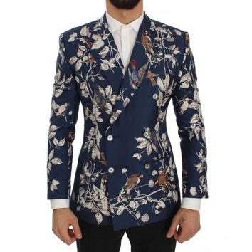 Dolce & Gabbana Blue Bird Print Silk Slim Fit Blazer Jacket