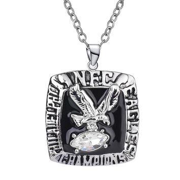 1980 Philadelphia Eagle Pendant Necklaces Steel Color Crystal Football Fans Champion Necklace for Men Charm Jewelry SP1726
