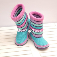 Little Mermaid - Crochet Boots,  Shoes for the Home, Blue, Turquoise, Rose, Pink, Mint, Violet, Pastel Colors, Stripes, Made to Order