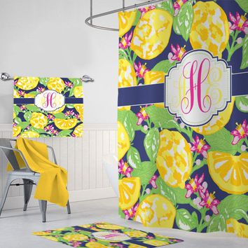 Lemon SHOWER CURTAIN, Lilly Lemon Bathroom Decor, Lemon MONOGRAM Personalized, Girl Sister Bathroom Decor, Lemon Bath Towel, Bath Mat