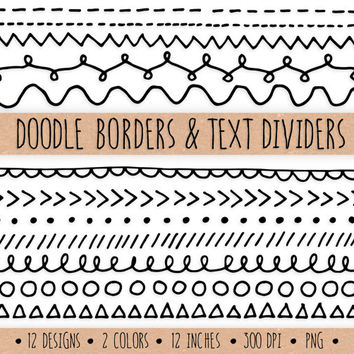 Hand Drawn Doodle Borders and Text Dividers. Digital Doodle Frames and Borders. Chalkboard Borders Clip Art. Geometric Doodle Clip Art.