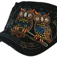 Womans Baseball Cap 2 Owls with Rhinestones Distressed Style Adjustable Band Military Hat - Available in Choice of Colors