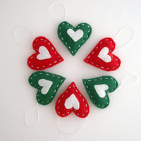 Red & green hearts Christmas ornaments -  holiday decor - gift wrap ideas - home decoration