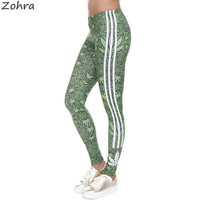 Zohra Fashion Stretch Leggings Weeds White Stripes Printing Fitness legging Sexy Silm legins High Waist Trouser Women Pants
