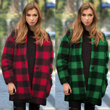 2017 Trending Fashion Women Plaid Outerwear Jacket _ 11400