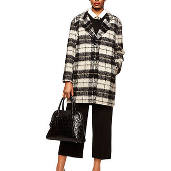 Kate Spade Woodland Check Bow Coat Pumice
