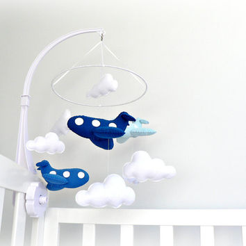 Airplane mobile  blue felt airplanes and white by LullabyMobiles
