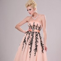 strapless pink chiffon and black lace evening dress