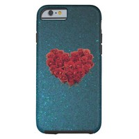 Heart Roses on Midnight Blue Sparkle iPhone 6 case